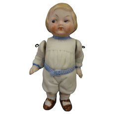 "3 1/2"" All Bisque Doll with Molded Clothes"