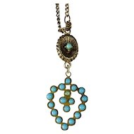 SALE Doll's Heart Shaped Necklace with Turquoise Glass Beads