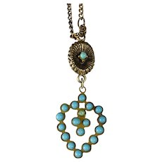 Doll's Heart Shaped Necklace with Turquoise Glass Beads