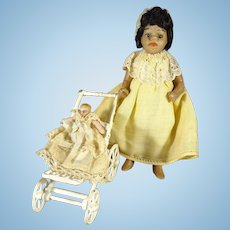 """4"""" Brown Complexion All Bisque Doll with Glass Eyes"""