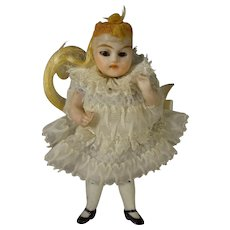 "3 1/2"" All Bisque Doll with Glass Eyes and Articulated Limbs"