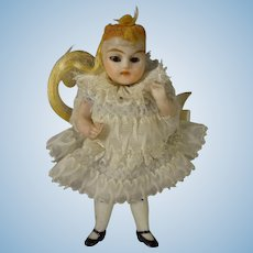 """3 1/2"""" All Bisque Doll with Glass Eyes and Articulated Limbs"""