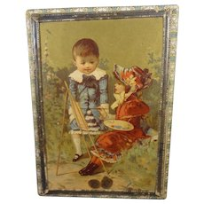 Candy Container with Lithography of Girl Painting