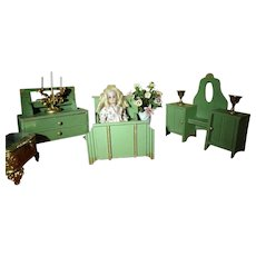 German Doll House Bedroom Bed Dresser Vanity