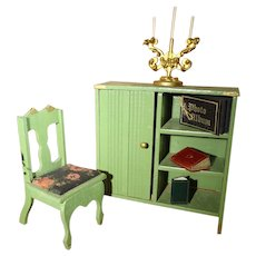 German Doll House Cabinet, Chair and Paper Rug