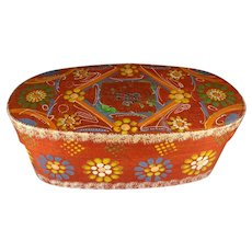 Oval Paint Decorated Box with Lid and Provenance