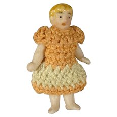 Miniature All Bisque Carl Horn in Peach Dress