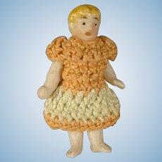 Miniature All Bisque Carl Horn in Peach Dress