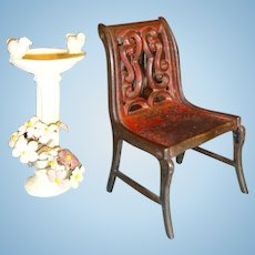 Cast Iron Miniature Chair with Red Paint