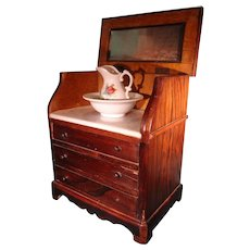 Miniature Lift Top Wash Stand Grain Painted