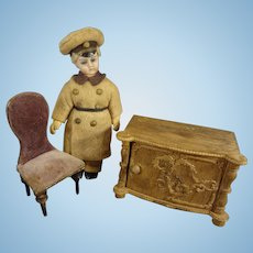 Miniature Doll House Chair and Chest
