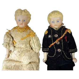 """Pair 9"""" Bisque Boy and Girl"""