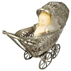Small Metal Doll Carriage with All Bisque Doll