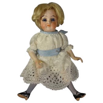 """6"""" All Bisque Doll With Glass Eyes"""