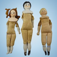 "Three Doll House Dolls 4 1/2"" - 5"" Tall"