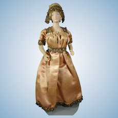 "7"" Bisque Doll House Doll with Formed Bust and Gold Boots"