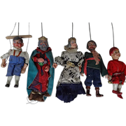 Group of Five Carved Wooden German Puppets