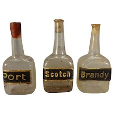 Miniature Port, Brandy and Scotch Bottles for Doll House