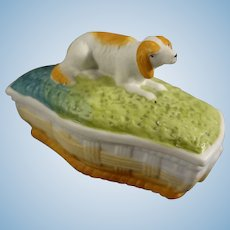 Porcelain Figural Trinket Box with Reclining Dog