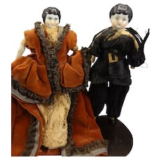 Pair of Doll House Black Hair China Dolls