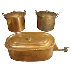 Set of Copper Pots for Salesman Sample Stove
