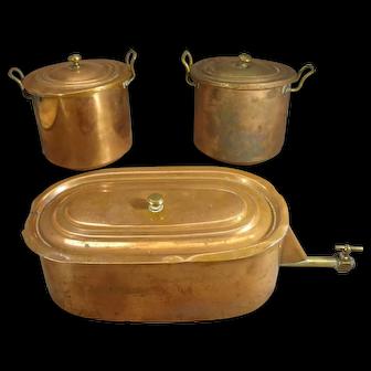Set of Copper Pots for Salesman Sample Stove