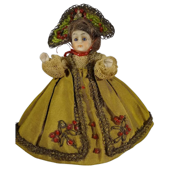 Tiny All Bisque with Glass Eyes in Regional Costume