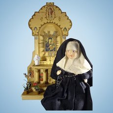 "7"" Nun Doll with Side Glancing Eyes and Rosary"