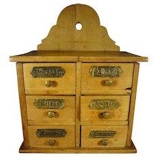 Antique German Six Drawer Spice Cabinet