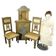 German Doll House Chairs and Cabinets