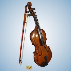 Miniature Toy Violin with Bow and Case