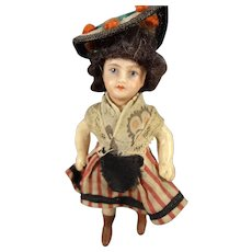 "3 1/2"" French Bisque Doll with Swivel Head"