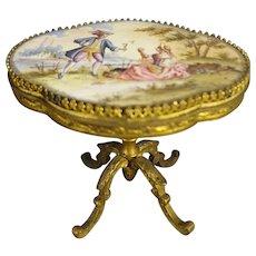 Miniature Austrian Enamel and Ormolu Table