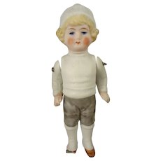 "4"" All Bisque Doll with Molded Clothes"