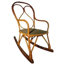 Bent Reed and Wicker Doll's Rocking Chair