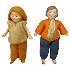"""Pair 3"""" All Bisque Hertwig Dolls"""