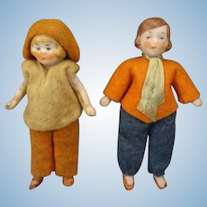 "Pair 3"" All Bisque Hertwig Dolls"