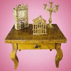 Antique Miniature Grain Painted Side Table