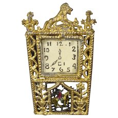 Gilt Metal Miniature Shelf Clock