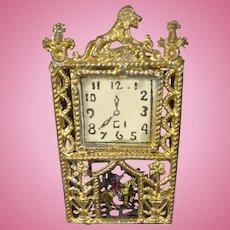 Gilt Metal Miniature Shelf Clock