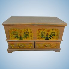 Paint Decorated Miniature Blanket Chest