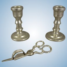 Soft Metal Miniature Candle Snuffer and Candlesticks