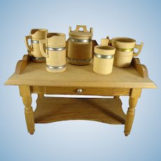 Miniature Wooden Table and Accessories