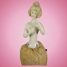 German Half Doll Pincushion Hands Away