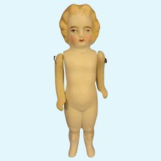 "5"" All Bisque Doll with Blonde Hair"