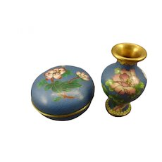 Lovely Cloisonne Vase and Round Box with Lid