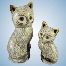 Pair of Cloisonne Cats in Miniature