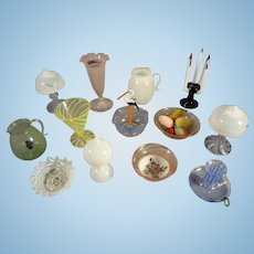 Goup of 12 German Glass Items for Doll House