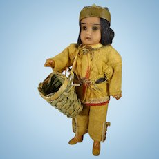 6 1/2' Bisque Indian with Glass Eyes and Original Costume