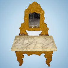 German Doll House Dressing Table with Marble Top